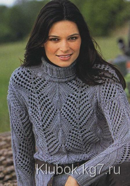 Ажурный пуловер с узором в резинку   Клубок