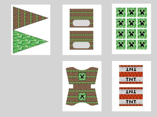 imprimir gratis Minecraft partido, etiquetas de los alimentos, primeros de la magdalena