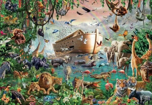 Impresiona la cantidad de animalesque pueden caber en el Arca de Noé - Puzzle de 3000 piezas de Jumbo - Arca de Noé - De venta en puzzlemania.net