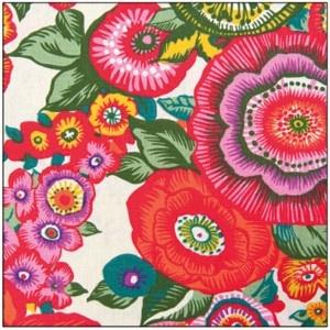 Coupon tissu fleurs japonaises blanc - La Fabrique du Canari
