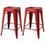 AmeriHome, 24 in. Metal Bar Stool in Red (2-Piece), 801064 at The Home Depot - Mobile  Also in blue