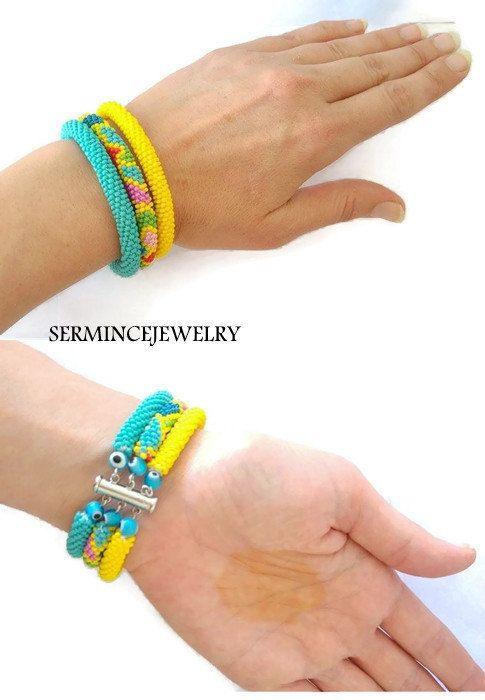 Summer Sales  3 Strand Beaded Crochet Bracelets by SERMINCEJEWELRY