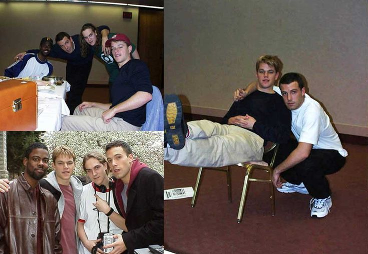 Chris Rock, Ben Affleck, Jason Mewes and Matt Damon on the set of Dogma                                                                                                                                                                                 More