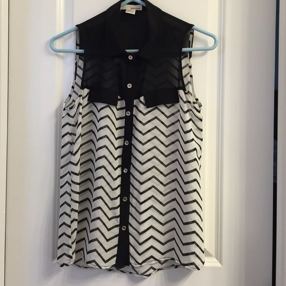 Black and white chevron shirt Black and white chevron shirt. Button down front. BCBG Tops