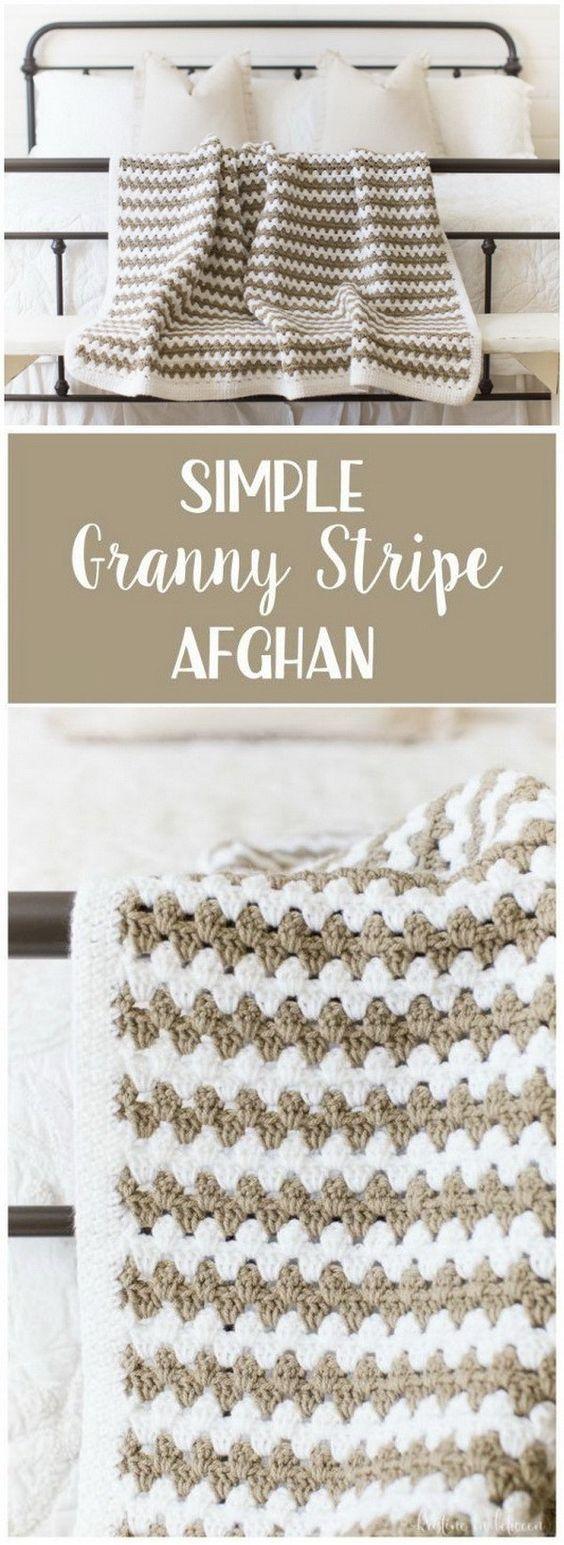 Simple Granny Stripe Afghan Blanket.