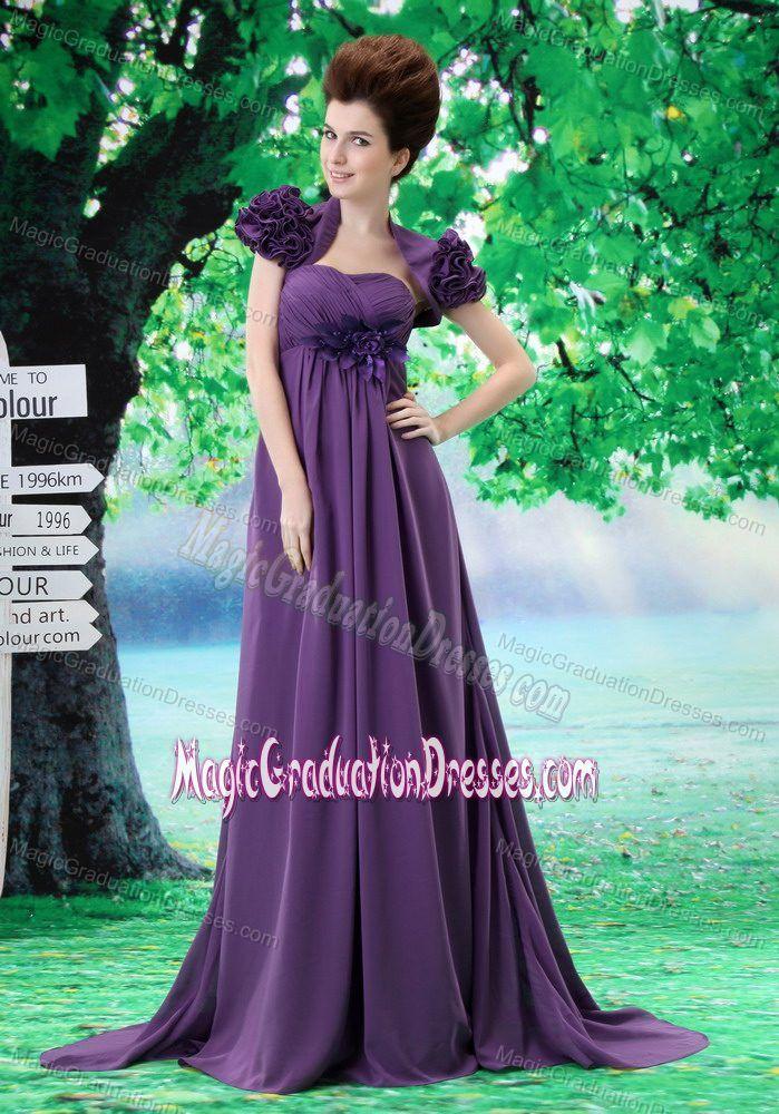 Classic Purple Long Graduation Dresses for 8th Grade with Handmade Flower
