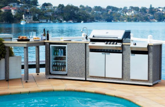 Turbo Elite Island BBQ Kitchen - Stainless Steel Hood, Side Burner, Sink and Table. The ultimate cooking station!