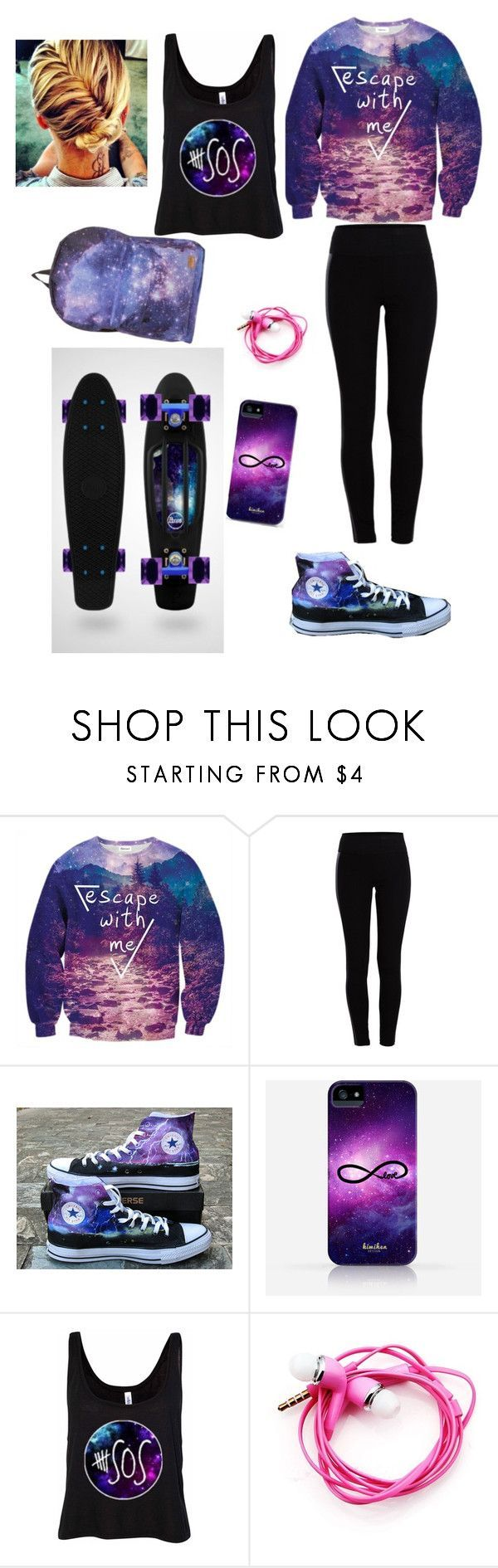 Galaxy Penny Board Outfit by sogirlykatie ❤ liked on Polyvore featuring Pieces, Converse and Samsung