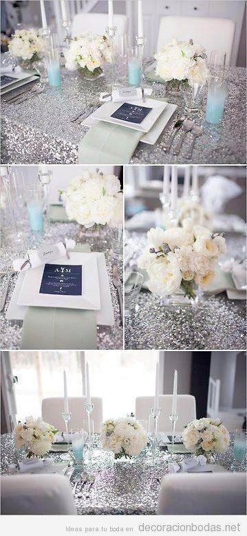 Idea decoración mesa boda flores blancas