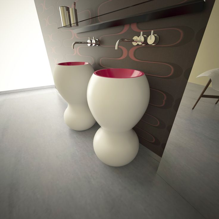 Rounded shapes, monolithic, compact, durable and pleasant to the touch.    These two highly original pedestal sinks, sold individually or in pairs.    MATT LACQUERED exterior finish, interior finish GLOSS LACQUERED