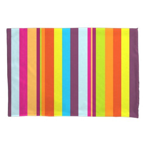 Stripes (Parallel Lines) - Blue Green Red Orange Pillow Case