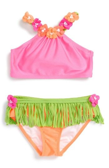 Free shipping and returns on Love U Lots Hula Two-Piece Swimsuit (Toddler Girls & Little Girls) at Nordstrom.com. A fun fabric hula skirt and sweet appliquéd flowers make this two-piece swimsuit extra cute.