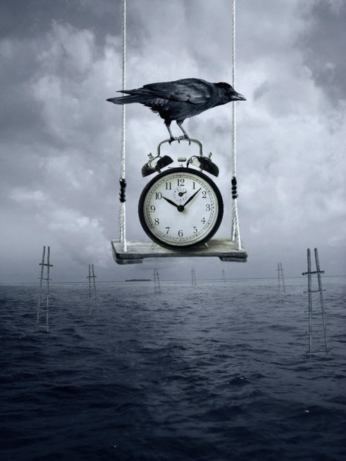 Surreal art clock time piece bird dark surrealism #Surreal #art #clock #time #bird #dark #surrealism