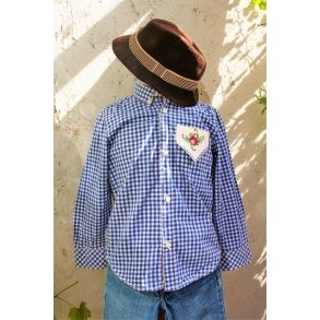Original ternet skjorte med håndlavet broderet blomst, upcyclet genbrug, str…
