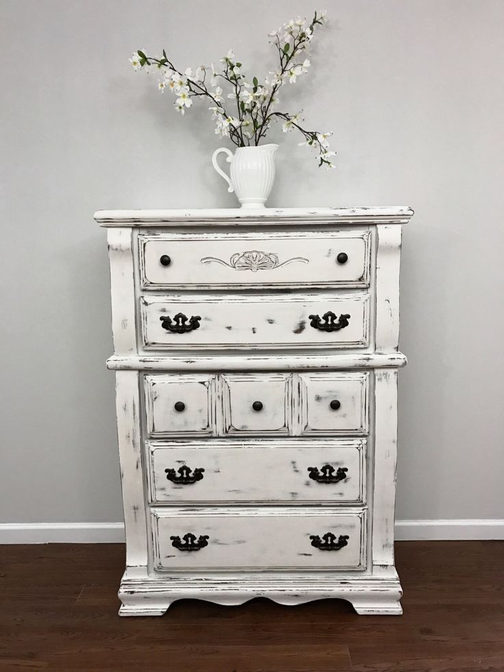 items similar to white distressed dresser on etsy