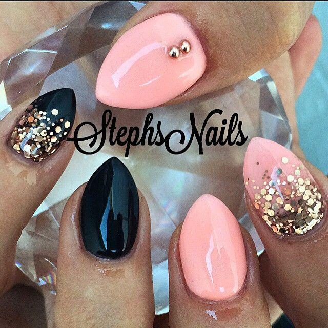 Stephanie Rochester @_stephsnails_ #simple#black#cor...Instagram photo | Websta (Webstagram)