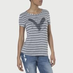 Duesouth Women's Regular Fit Stripe T-shirt-Grey