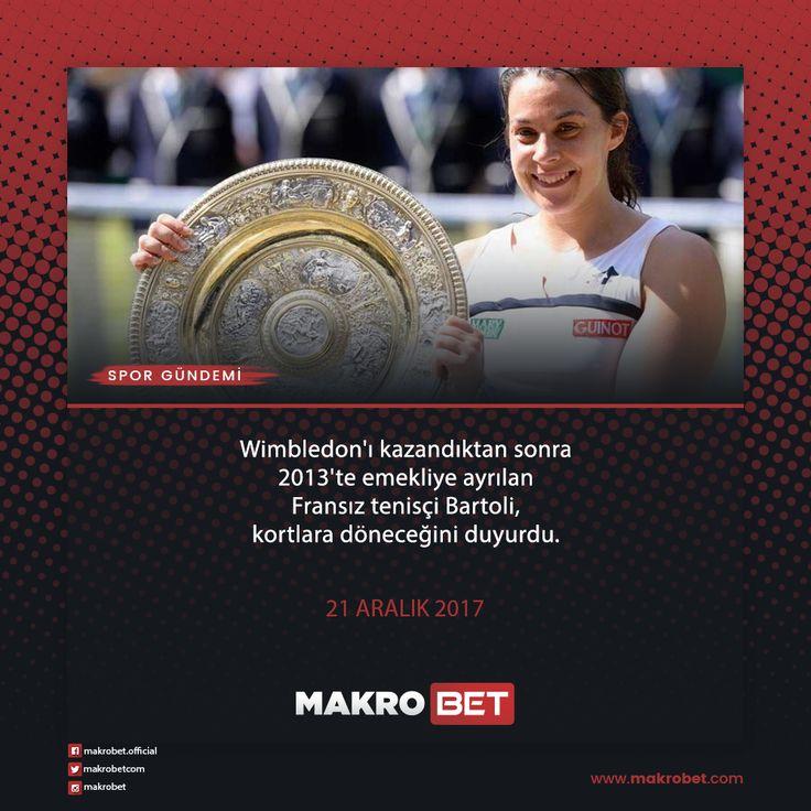 Wimbledon'ı kazandıktan sonra 2013'te emekliye ayrılan Fransız tenisçi #Bartoli, kortlara döneceğini duyurdu. Kariyerinde tek kadınlar dünya sıralamasında yedinciliğe kadar çıkan Fransız tenisçi, 2013 yılında #Wimbledon Tenis Turnuvası'nda zafere uzanmıştı. 33 yaşındaki Bartoli,14 Ağustos 2013'te ise emekliye ayrıldığını duyurmuştu.  http://makrobet19.com