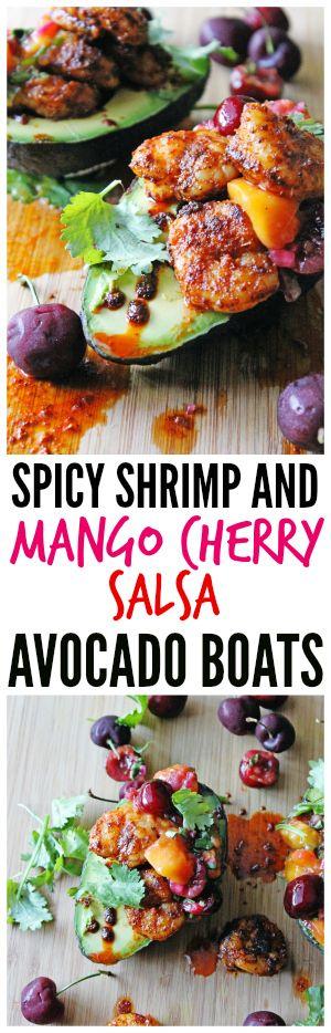 shrimp and mango cherry salsa avocado boats   Recipe   Cherry Salsa ...