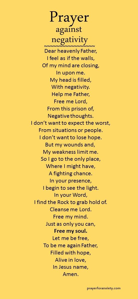 Here's a prayer you can pray to be free of negativity.