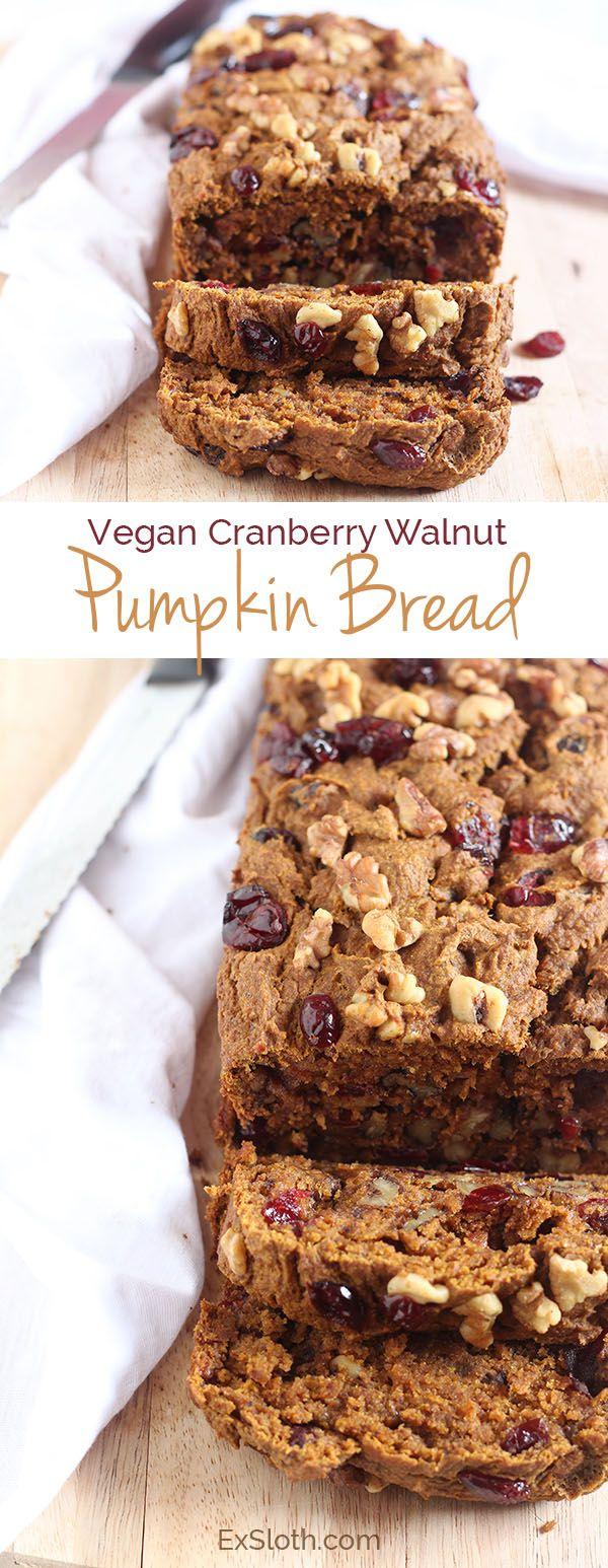 vegan cranberry walnut pumpkin bread via @ExSloth | ExSloth.com