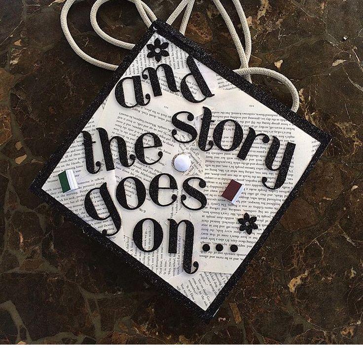 Graduation cap, book pages