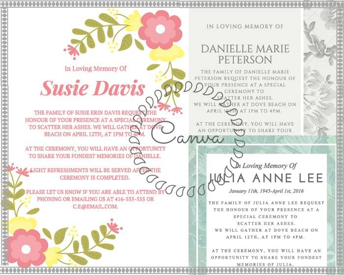 29 best Funeral Reception Invitations images on Pinterest - family gathering invitation wording