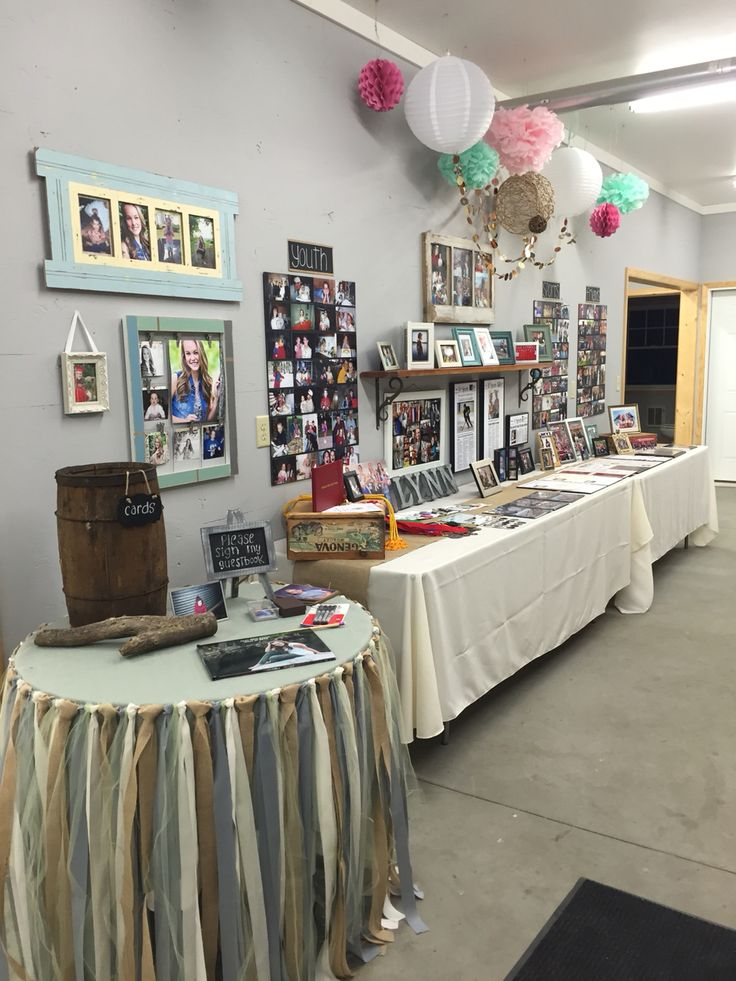 My graduation party photo display table set up.
