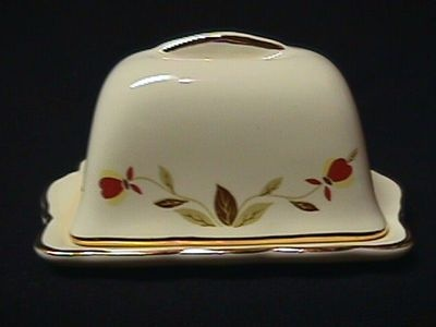 $24.75 Jewel Tea Autumn Leaf Butter Dish Jewel Tea Company was founded around 1899. Hall Autumn Leaf China was once sold by salesmen door-to-door throughout America.