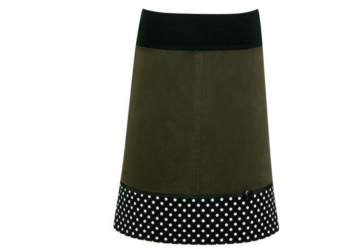 Jeansröcke - Rockabilly Stretchrock khaki schwarz - ein Designerstück von Linea-Mano bei DaWanda