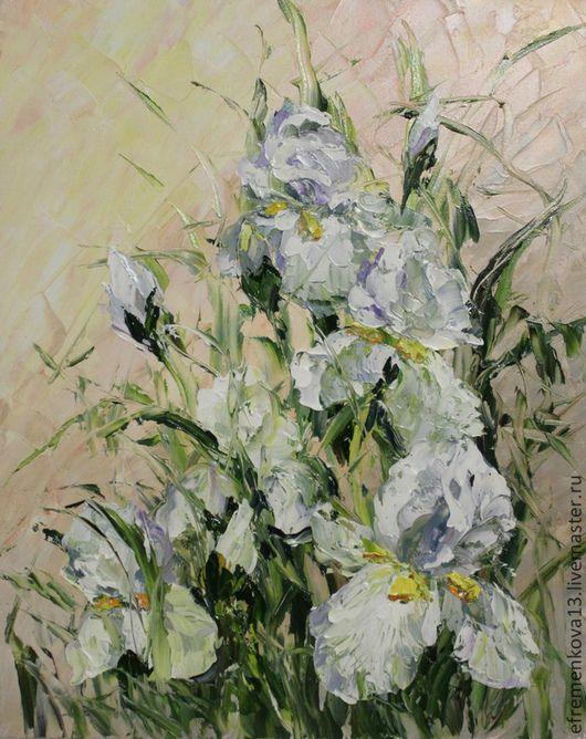 """Картины цветов ручной работы. Ярмарка Мастеров - ручная работа. Купить Картина """"Белые ирисы"""". Handmade. Бледно-розовый, букет"""