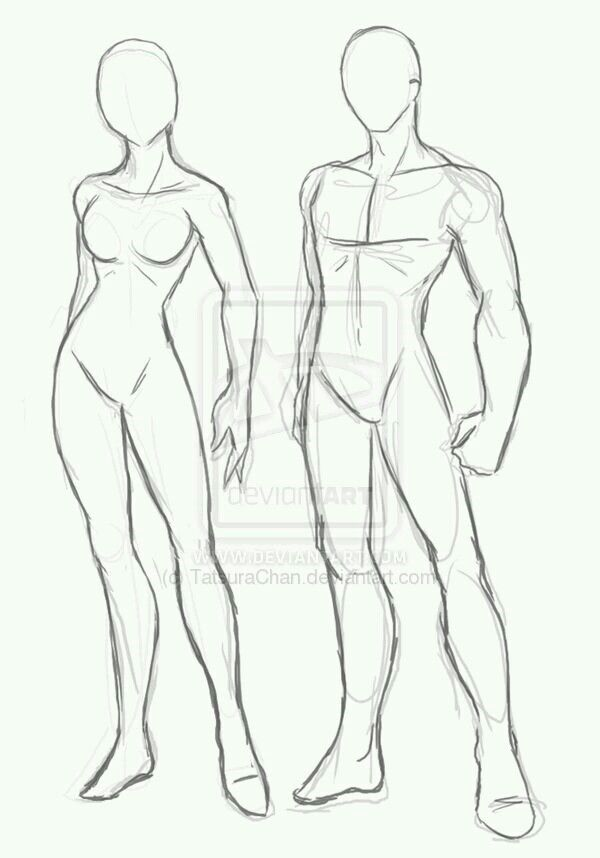 Male and female anime models from Deviantart