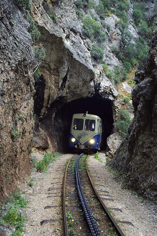 I thought this was a VW bus on tracks!!    TRAVEL'IN GREECE I Odontotos rack railway, #Kalavryta, #Greece