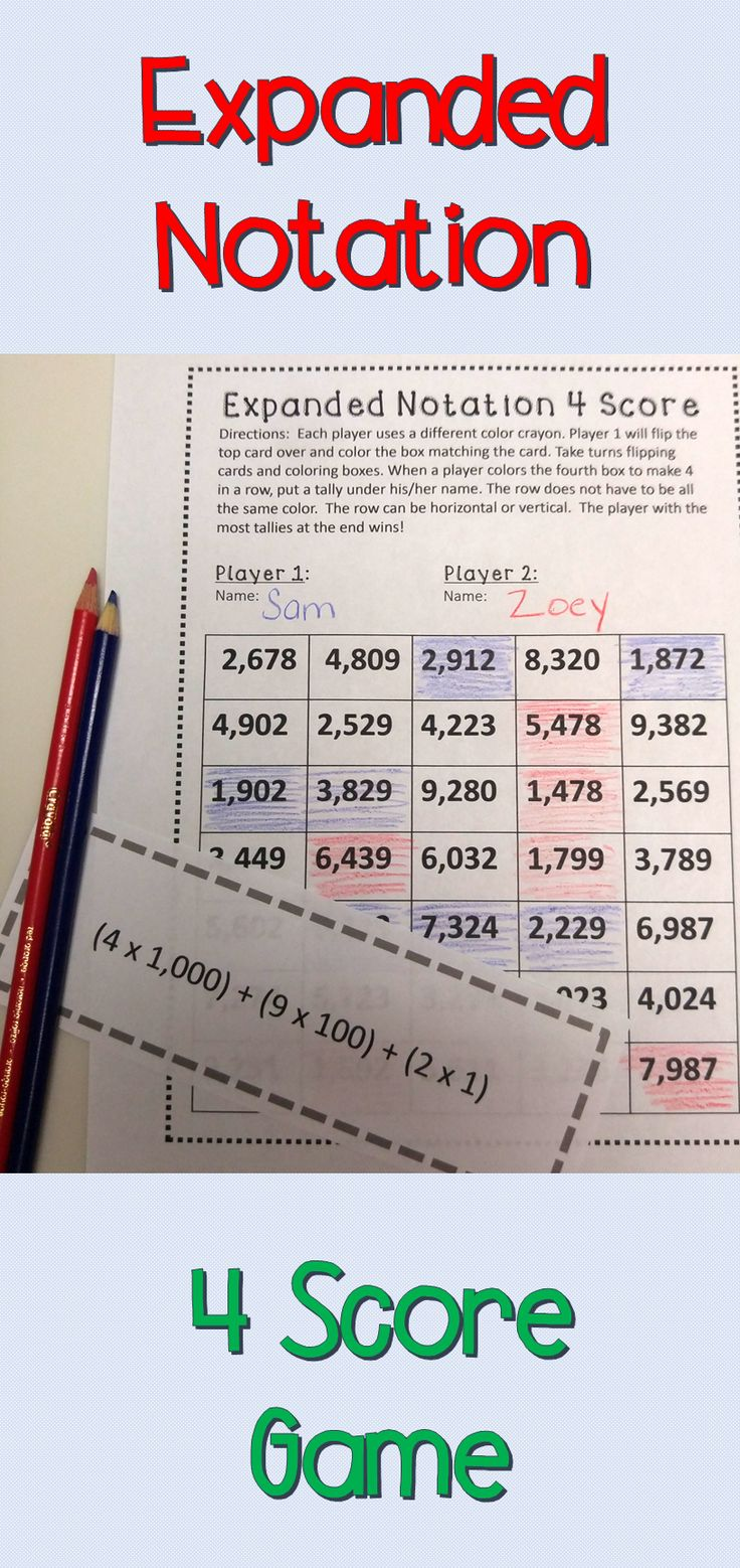 This is a fun way to practice expanded notation of numbers.  Students take turns turning over an expanded notation card and coloring in the corresponding standard form box. First player to get 4 in a row is the winner.  Can be played with 2, 3, or 4 players. Great for centers, small groups, early finishers, homework and more!