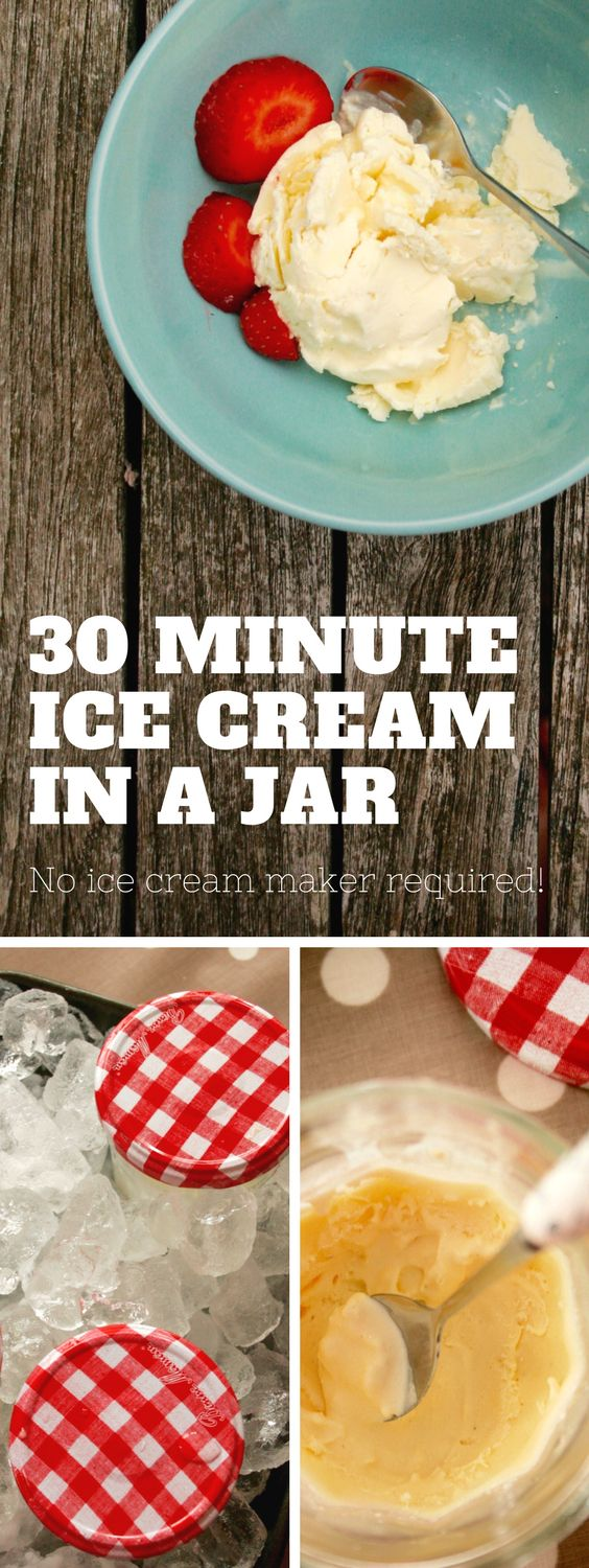 Want to know how to make crazily creamy homemade ice cream in a jar? This easy ice cream recipe takes just 30 minutes & makes a great activity for kids too. It's made  without an ice cream maker (you just need a jar & some ice!) & the ice cream tastes SO much better than most shop bought ice creams. It's healthier too as it only uses natural ingredients, so makes a fantastic treat!