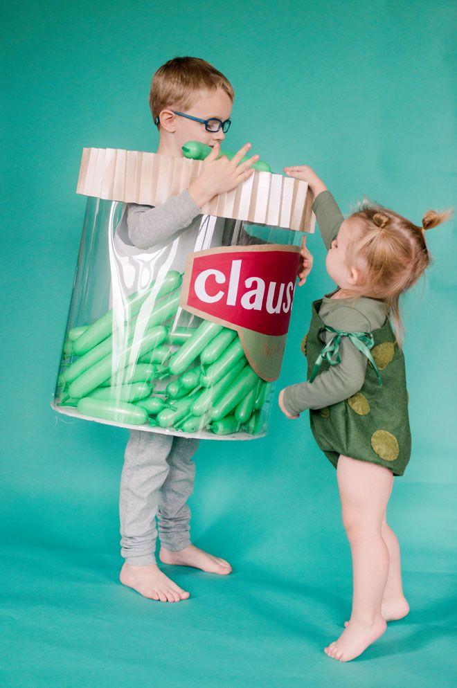 pickle jar costume, DIY costumes, halloween costume ideas, sibling costume ideas, clauses pickle costume, toddler costume ideas, preschool costume ideas