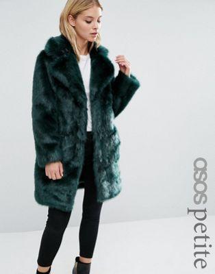 ASOS PETITE Coat in Plush Faux Fur