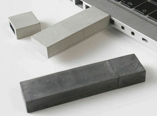 Concrete USB sticks (Kix Berlin) Probably not going to replace plastic.