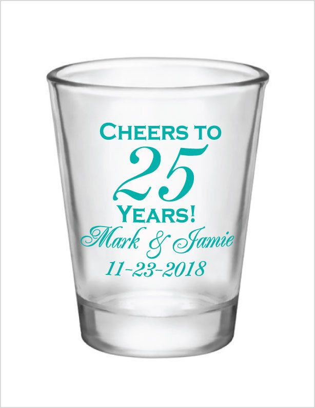 48 Personalized 1.5oz Glass Shot Glasses 25th Wedding Anniversary Custom Designs Anniversary Favors by Factory21 on Etsy
