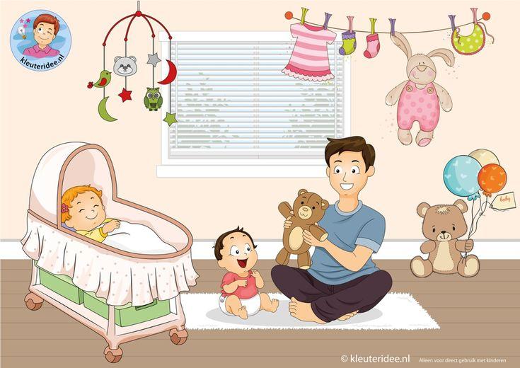 Interactieve praatplaat bij thema 'baby' voor kleuters door juf Petra van kleuteridee.nl. Image tagging powered by ThingLink