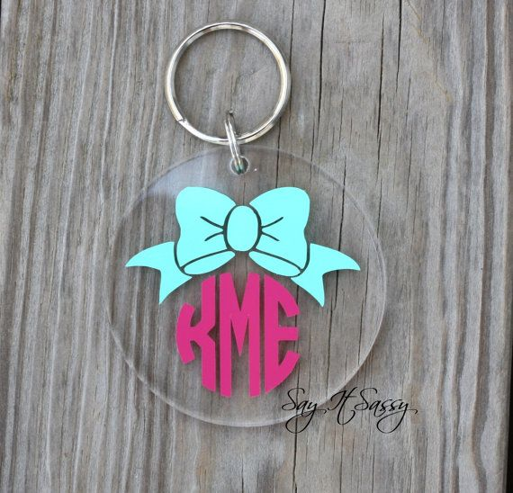 Bow Monogram Keychain Acrylic Personalized Key Chain by SayItSassy $8.50