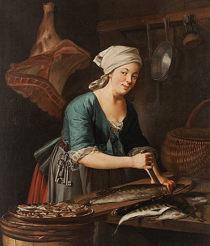 "PEHR HILLESTRÖM, ""En Qvinna som ränsar fisk"" (= A woman who cleans the fish). Signed Hilleström. Executed about 1775."