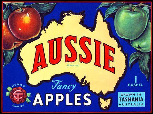 'Aussie' Fancy Apples. Vintage fruit label print 1950s http://www.vintagevenus.com.au/vintage/reprints/info/FD322.htm