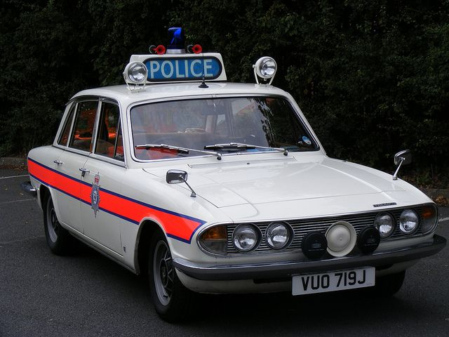 British classic Triumph white 2000 2500 2.5pi 70's old police car ...