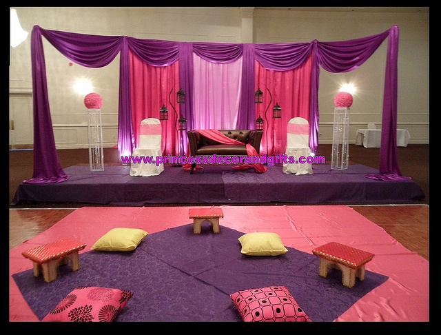 Mendhi Decor - Pink & Purple Backdrop, stage and Cushions! by Princess Decor & Gifts 416-898-7061, via Flickr
