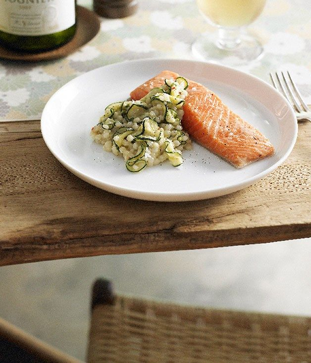 Australian Gourmet Traveller and Forty One restaurant entree recipe for slow-cooked ocean trout with Israeli couscous, zucchini, chilli and bottarga