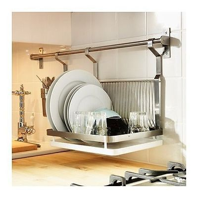 IKEA GRUNDTAL DISH DRAINER REMOVABLE TRAY HANGING SPACE SAVER STAINLESS STEEL