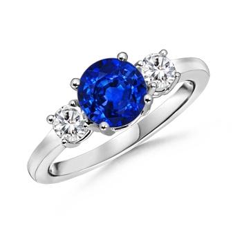 Angara Diamond Framed Three Stone Blue Diamond Ring(6mm) 8N2uSGGM