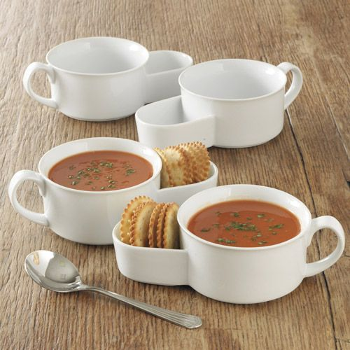 White Porcelain Soup and Cracker Bowls  This durable set of soup bowls conveniently serves crackers on the side.
