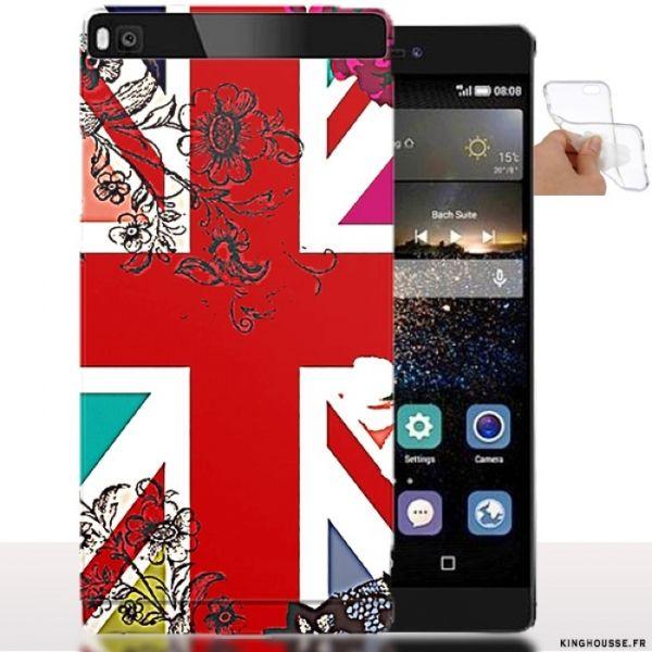 Coque Huawei P8 Lite Drapeau Anglais + Fleurs - Etui Souple. #P8 #Huawei #Flag #English #Floral #Fleur #Drapeau #Angleterre